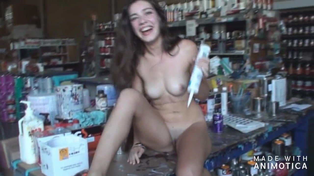 Embarrassed woman lost bet naked
