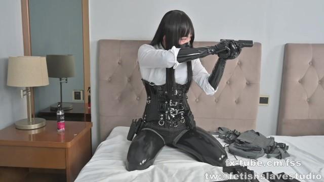 Latex bondage girl